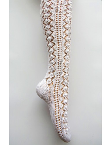 Long knitted lace socks with bobbles pattern