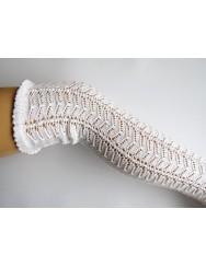 Over knee knitted lace socks - herringbone pattern