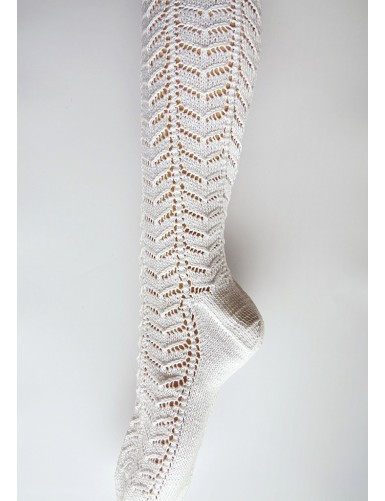 Over knee knitted lace socks - herringbone pattern