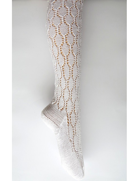 Knitted lace socks with hexagon pattern
