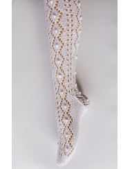 Knitted lace socks with bobbles pattern
