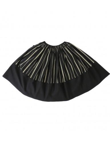 Black woollen skirt with white stripes