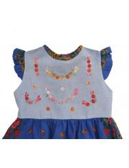 Baby girl dress with viana scarf - blue