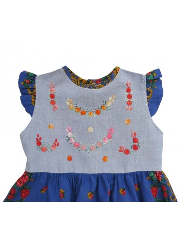 Baby girl dress with viana scarf - blue