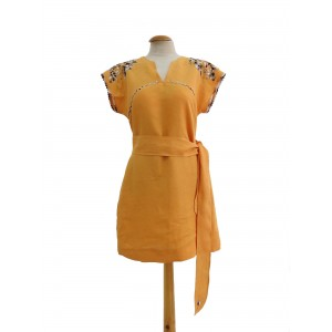 Orange linen dress hand embroidered