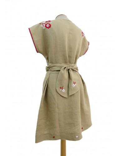 Khaki linen dress hand embroidered - M/L