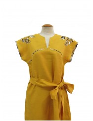 Toasted yellow linen dress hand embroidered