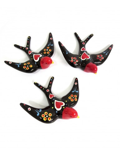 Set of 3 Portuguese Black Swallows