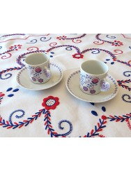 Set of 2 coffee cups with saucer - Viana embroidery design