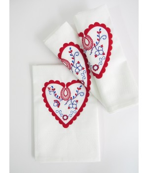Set of 3 kitchen cloth with embroidery - 100% cotton