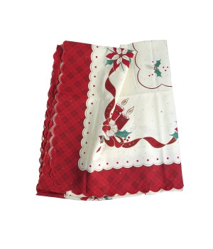 Beige and red christmas tablecloth - 2.5 M