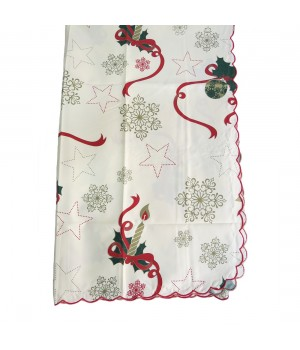 Beige and red christmas tablecloth - 2 M