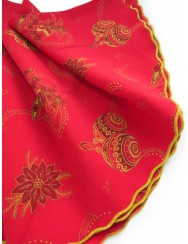 Red christmas tablecloth - round with bells