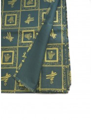 Green christmas tablecloth printed with golden patterns - 2.5 m