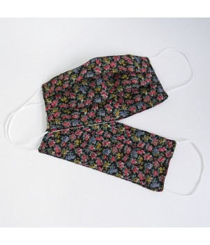 Set of 2 social face masks with printed little flowers