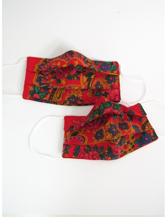 Set of 2 cotton fabric masks - red