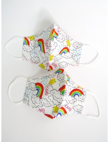 Children's rainbow face mask - Set of 2